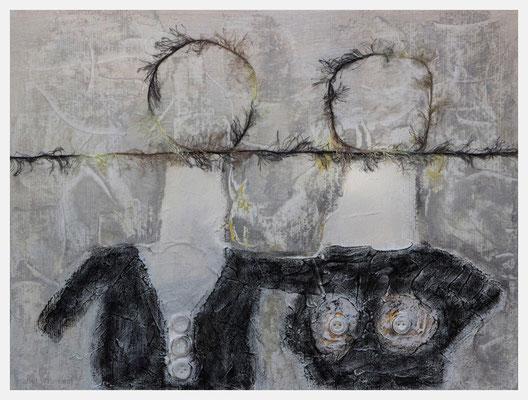 auf einer Wellenlänge (Strukturpaste, Acryl, Kohle, Knöpfe, Wolle auf Papier, 300g/m², 40 x 30 cm)