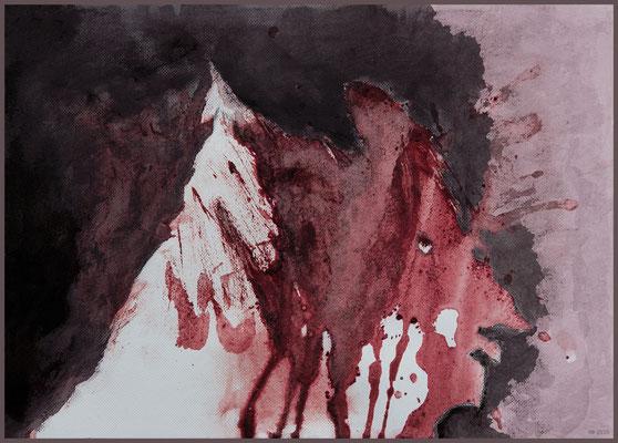 der Schimmelreiter - nach Theodor Storms Novelle (Henna, Acryl, Kohle auf Papier, DIN A4, farblich digital überarbeitet)