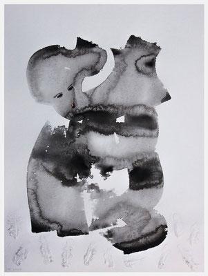 Halb zog er sie, halb sank sie hin. (Acryl, Federn, Gouache auf Papier, 265g/m², 30 x 40 cm)