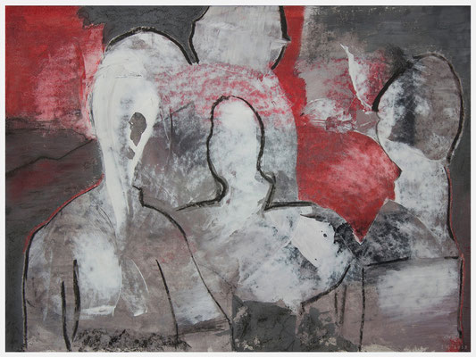 an.einander.vorbei (Acryl, Gouache, Pastellkreide auf Papier, 265g/m², 40 x 30 cm)