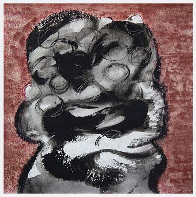 gemeinsam (Acryl, Pastell, Abtöner, Aquarell metallic auf Papier, 265g/m², 30 x 30 cm)