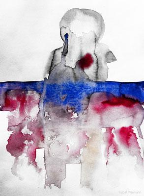 der Mensch und das Meer (Aquarell auf Papier, 250g/m², 24 x 32 cm)