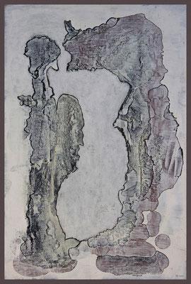 Als sie mit etwas schwanger ging...(Materialstudie: Acryl, Alcohol Ink, Fineliner auf Alu-Dibond, 27 x 41 cm)