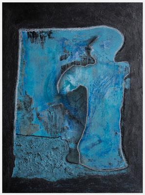 am Fenster (Acryl, Metallfarbe, Ölpastell, Pastellkreide auf Holz, 30 x 40 cm)