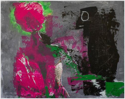 der Rabe und das Kind (Acryl, Zeitung, Ölpastell auf Malkarton, 40 x 50 cm)