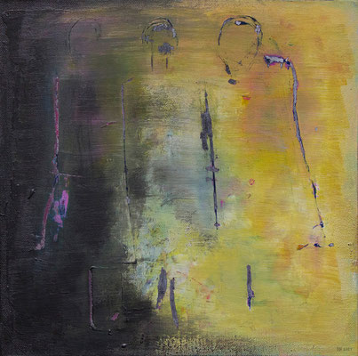 Aus dem Schatten treten ins Licht. (Acryl, Graphit, Ölpastell, Malmesser auf Malkarton, 30 x 30 cm)