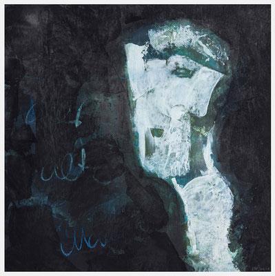 der alte Mann und das Fernweh (Acryl, Pastellkreide auf Papier, 265g/m², 30 x 30 cm)