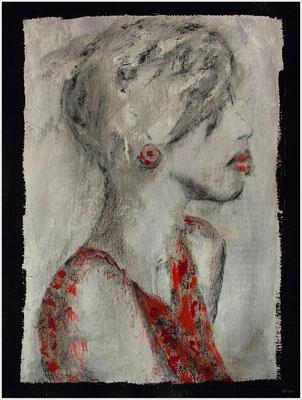 ohne Titel (bedrucktes Papier, Acryl, Kohle, Pastellkreide auf Papier, 250g/m², 24 x 32 cm)