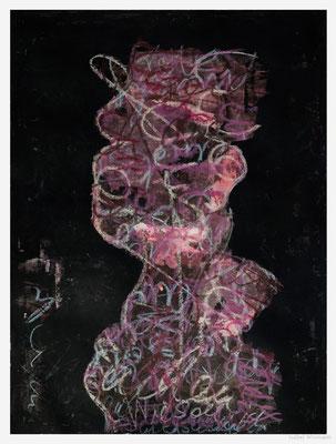 der Literat (Acryl, Tinte, Ölpastelle auf Papier, 300g/m², 30 x 40 cm)