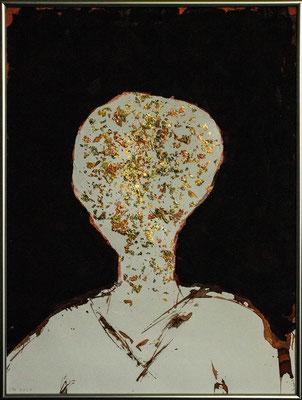 innerer Reichtum/ein Licht in der Dunkelheit (Acryl, diverse Tinten, Blattgold auf Papier, 300g/m², 30 x 40 cm)