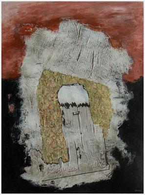 Rapunzel, lass dein Haar herunter. (Zeitung, Acryl, Blattgold, Pastellkreide, Inkagold, Fineliner auf Papier, 265g/m², 30 x 40 cm)