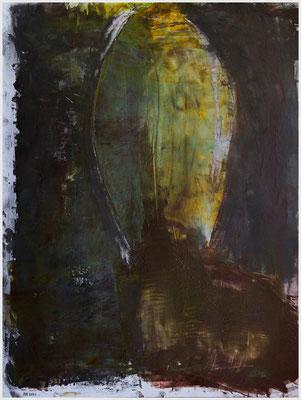 Charon - Fährmann des Styx (Acryl metallic, Graphitpulver auf Fotopapier, 30,5 x 40,1 cm)