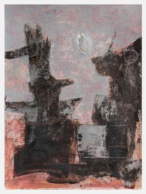 auf der Suche nach einem gemeinsamen Standpunkt (Acryl, Pastellkreide, Antik Metallic auf Papier, 265g/m², 30 x 40 cm)