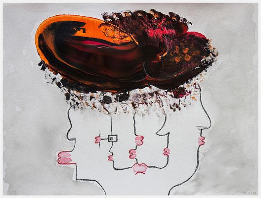 unter einen Hut bringen (Acryl, Ölpastell auf Papier, 265g/m², 40 x 30 cm)