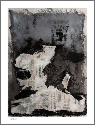 Erderschöpfungstag (Graphit, Acryl, Zeitung auf Papier, 265g/m², 30 x 40 cm)