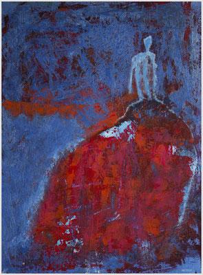 la robe rouge/dem Himmel so nah (Acryl, Metallfarbe auf Karton, 23,5 x 31,6 cm)