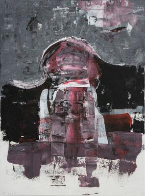 Welten - das Mädchen und der Mond (Acryl, Dispersionsfarbe auf Leinwand, 60 x 80 cm)