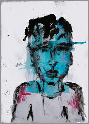 ohne Titel (Acryl, Ölpastell, Bleistift auf Papier, 300g/m², DIN A4, Hintergrund minimal digital überarbeitet)
