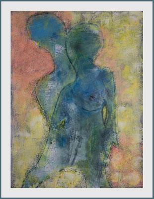 """""""Blau ist eine warme Farbe"""" (Acryl, Pastellkreide, Ölpastell, Bleistift auf Papier, 265g/m², 30 x 40 cm)"""
