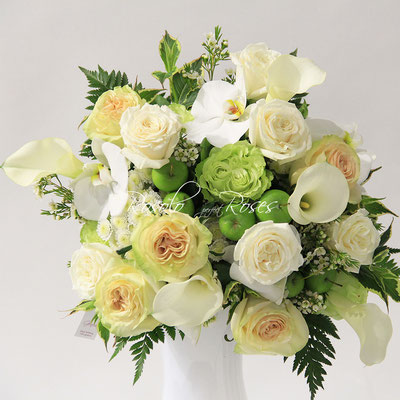 Bouquet moyen,  automne en blanc et vert ¦ POMMES