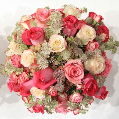 Bouquet de roses, couleurs douces