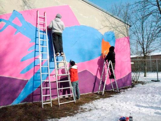 "Straßenkunstprojekt der Mohr-Villa ""Blauer Vogel goes Camp"" am 7.& 8.Februar 2015"