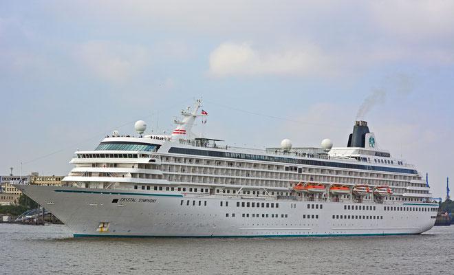 CRYSTAL SYMPHONY läuft am 08.09.2014 im Hamburger Hafen (HCC HafenCity) ein