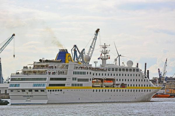 MS HAMBURG läuft am HCC HafenCity aus am 25.08.2014