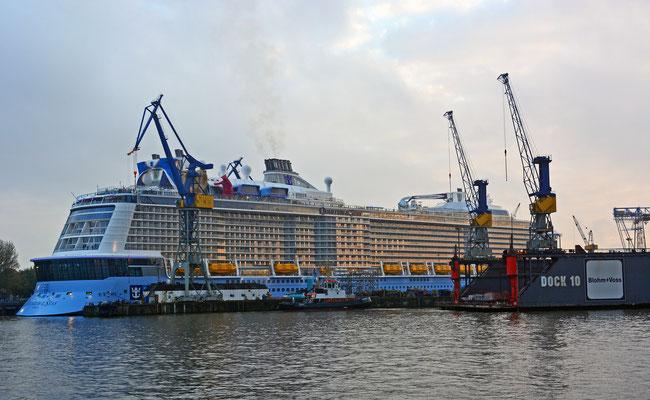 QUANTUM OF THE SEAS unmittelbar nach dem Ausdocken aus DOCK ELBE 17 am 25.10.2014