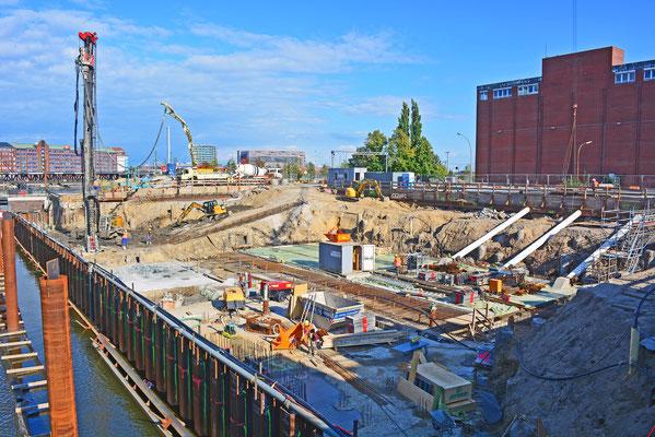 Baustelle in der HafenCity/Shanghai-Allee im Juli 2014