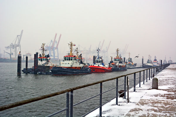 An der Schlepperpier Neumühlen bei Schneefall im Januar 2016