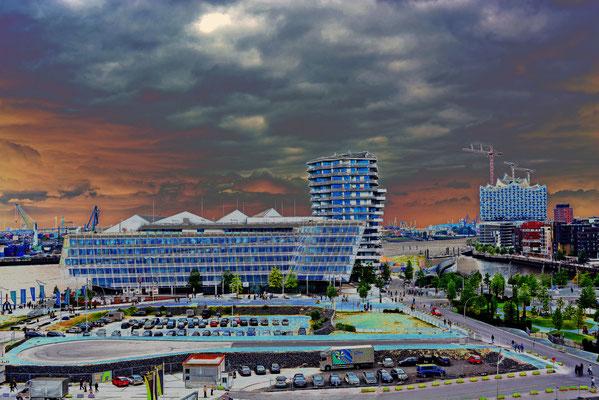 Westliche Hafencity aus 60 m Höhe vom Steiger-Riesenrad gesehen