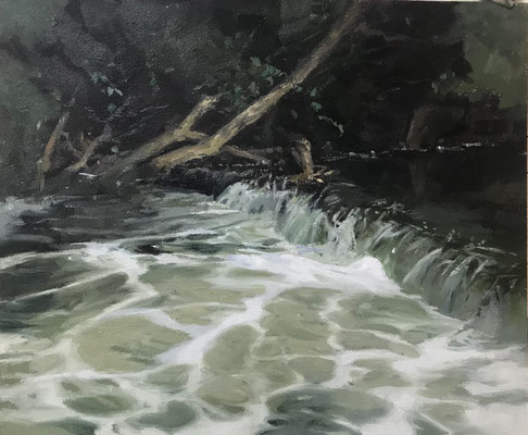 The Morning Waterfall - oil - 25 x 30 cms