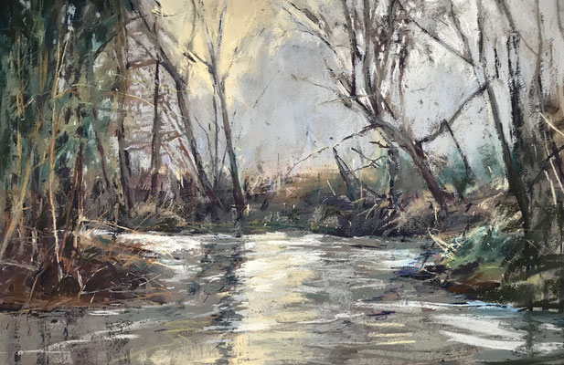 River Mole - pastel - 35 x 55 cms