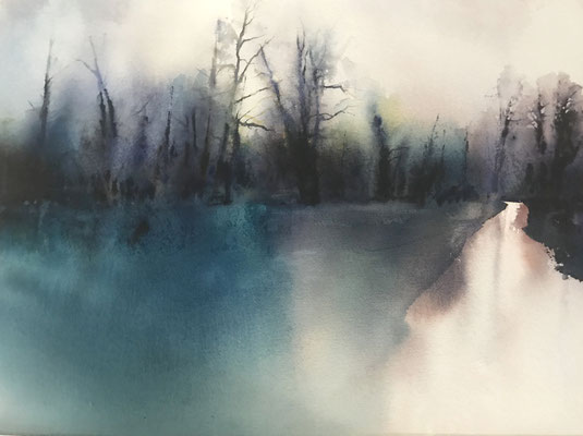 Cold Day - watercolour - 64 x 44 cms