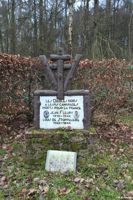 Petit arrêt sur le monument aux morts dédié à deux jeunes FFI du réseaux des Diables Noirs ✝ dans le bois des Huées 🌳😉.
