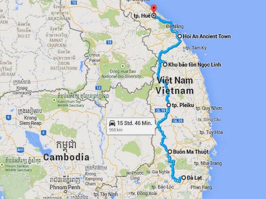 Unsere Route von Da Lat bis Hue.