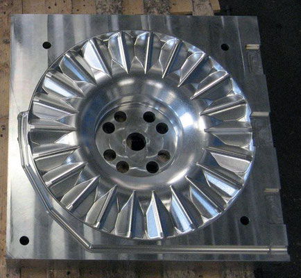 Aluminum mold to flow of the polyurethane