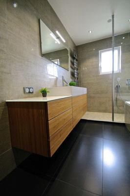 meuble crono burgbad axor starck organic salle de bains carrelage noir entreprise RG intérieur metz salle de bains