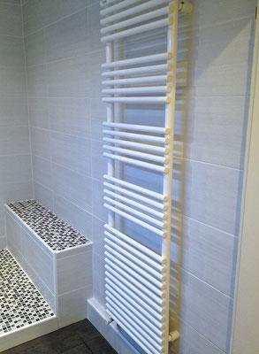 Salle de bain douche italienne sobre colonne de douche Hansgrohe paroi Rothalux barre plafond wc Villeroy & Boch sèche serviette ACOVA - RG Intérieur
