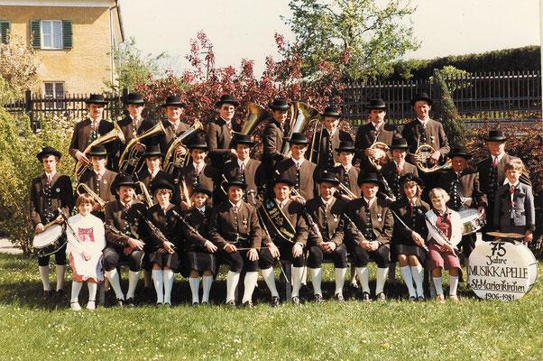 Die Musikkapelle beim 75 Jahr Jubiläum 1981