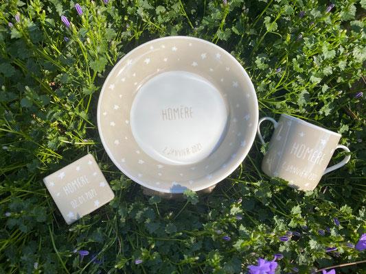 Ensemble de vaisselle personnalisée pour une naissance