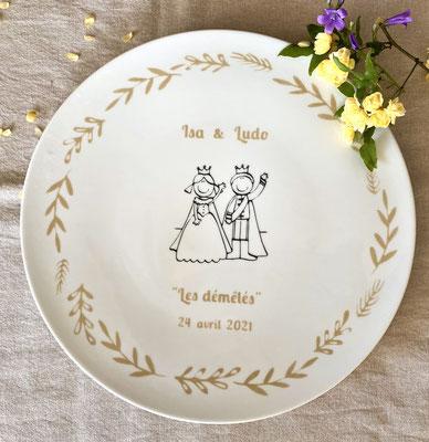 Grand plat peint à la main pour un cadeau de mariage