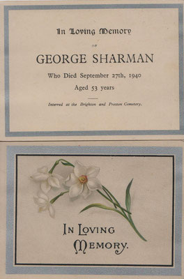 In Loving Memory (for George Sharman d. 27.9.1940)