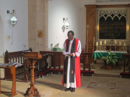 Our fellow pilgrim, Bishop Louis of Kigali, Rwanda, preaching