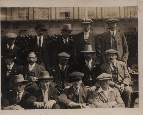 George Sharman (second from the right, back row) possibly taken on a works trip to Southend