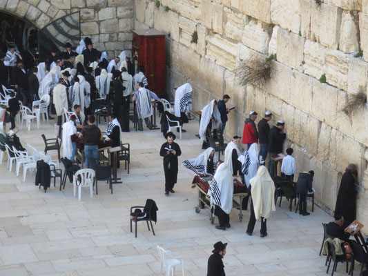 View of the 'Wailing wall' from the bridge to the Temple Mount