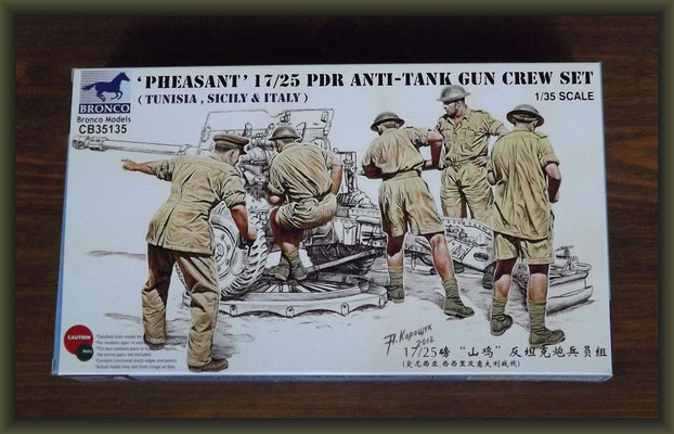 Bronco Models CB35135 Pheasant 17/25pdr Anti-Tank Gun Crew Set (Tunisia, Sicily & Italy)