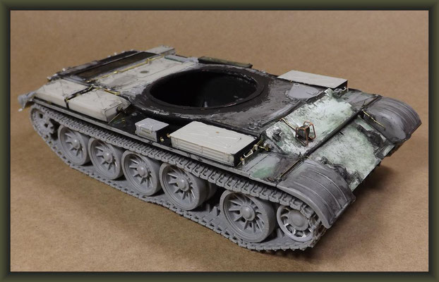T-54-3 Tank, Diorama 1:35, Stage 6