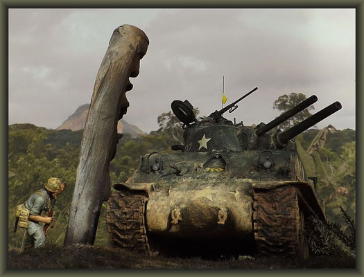 'Hot Heads' ; Sherman M4A3 (105mm) POA-CWS-H5 ; Diorama 1/35 ; Completion